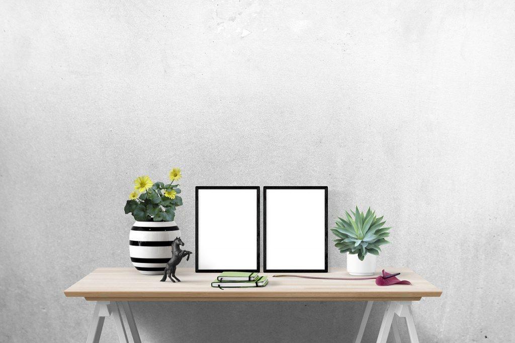 desk and photos